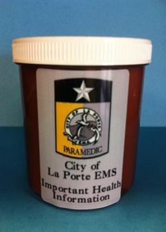 Cup with a sticker on it with the EMS logo - City of La Porte EMS, Important Health Information