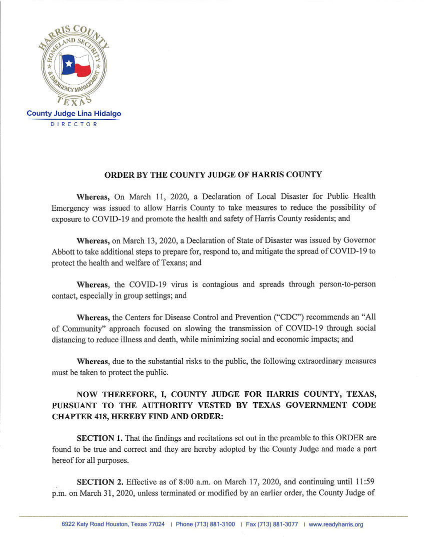 Executive Order from Harris County Judge