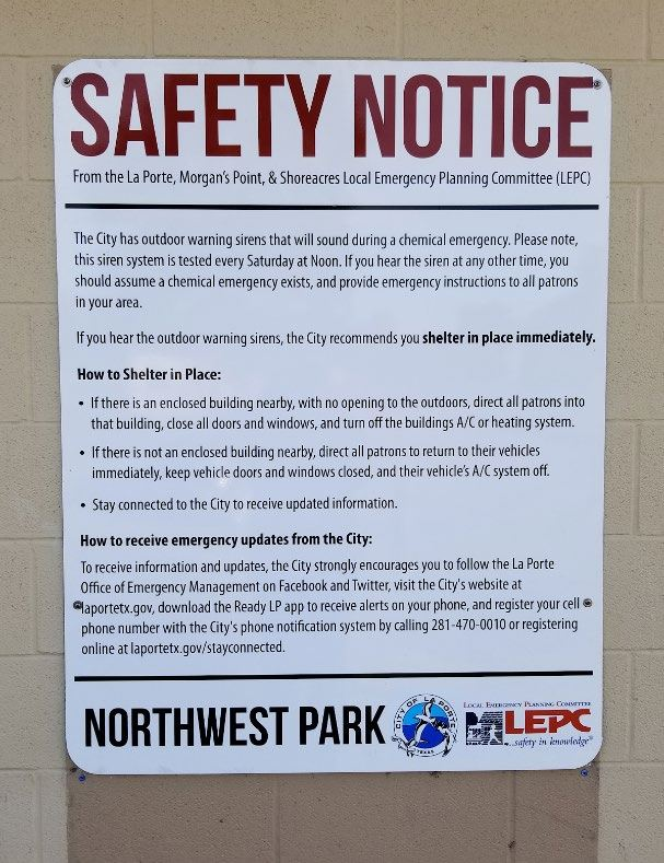 La Porte, Mogan's Point and Shoreacres Safety Notice - Evacuation plan