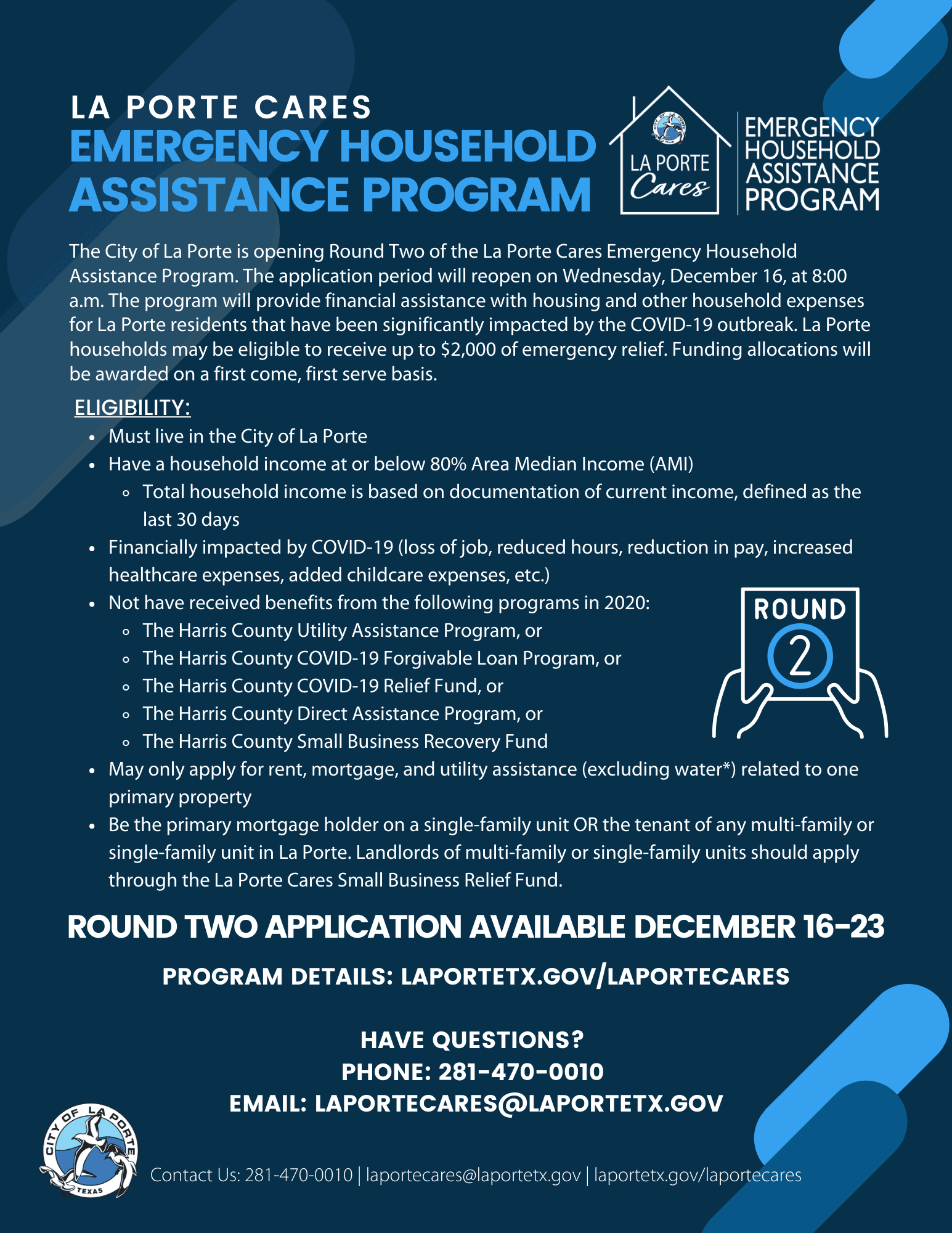 Round Two Flyer Household Assistance Program