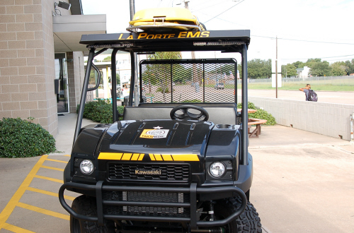 Front view of the EMS golf cart